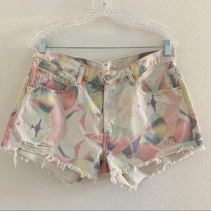 Levi's 501 Distressed Pastel Tie Dye Denim Shorts